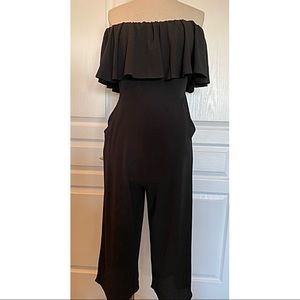 Cropped Off the Shoulder Jumpsuit - Size Large